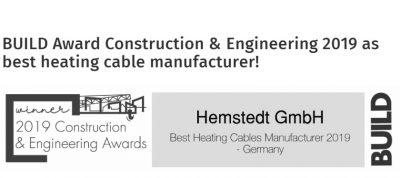 """BUILD acorda Premiul fabricii Hemstedt pentru """"Cel mai bun producator de cabluri de incalzire in pardoseala din 2019"""""""
